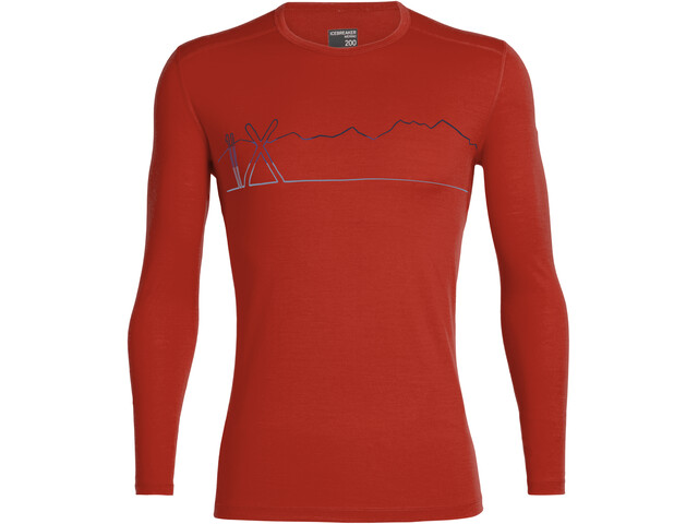 Icebreaker 200 Oasis Single Line Ski LS Crewe Shirt Men chili red